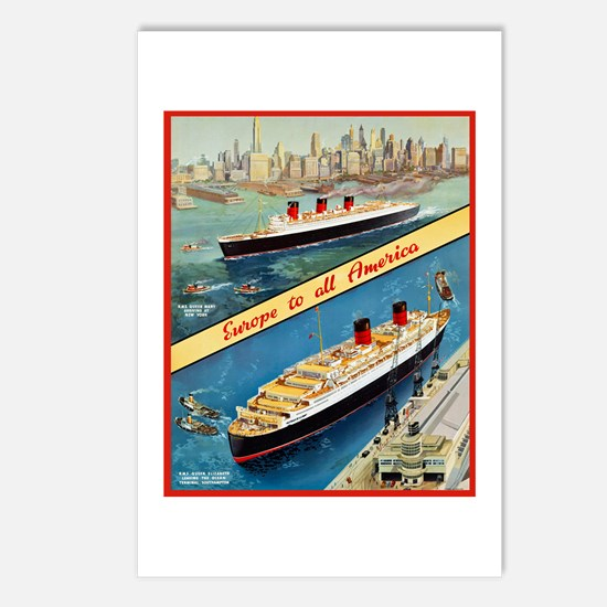 America Travel Poster 3 Postcards (Package of 8)