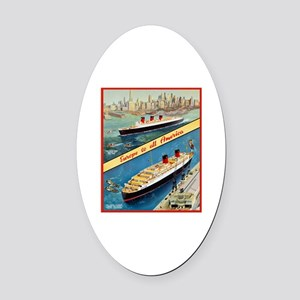 America Travel Poster 3 Oval Car Magnet