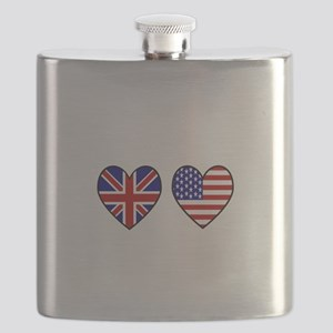 USA Union Jack Hearts on White Flask