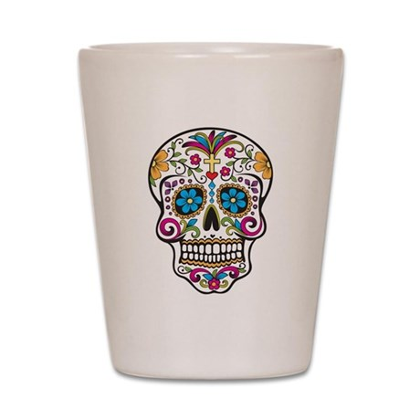 Sugar Skull Shot Glass