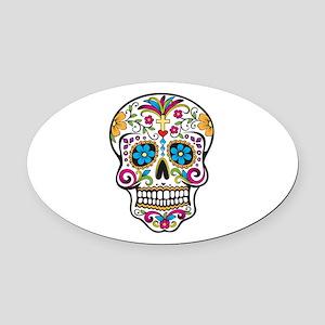 Sugar Skull Oval Car Magnet