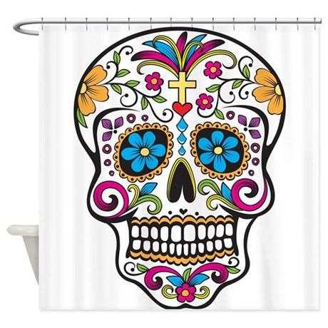 Sugar Skull Shower Curtain By TheFantasticShirtandMoreShop