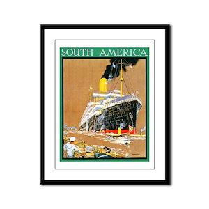 South America Travel Poster 1 Framed Panel Print