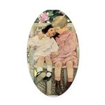 Brother and Sister Oval Car Magnet