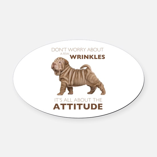 attitude.png Oval Car Magnet