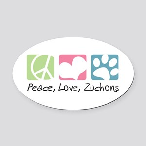 Peace, Love, Zuchons Oval Car Magnet