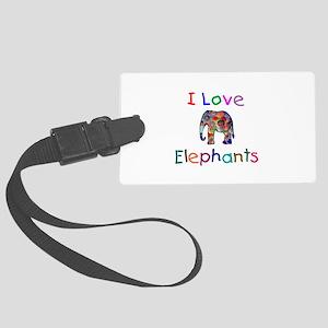 I Love Elephants Large Luggage Tag