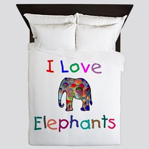 I Love Elephants Queen Duvet