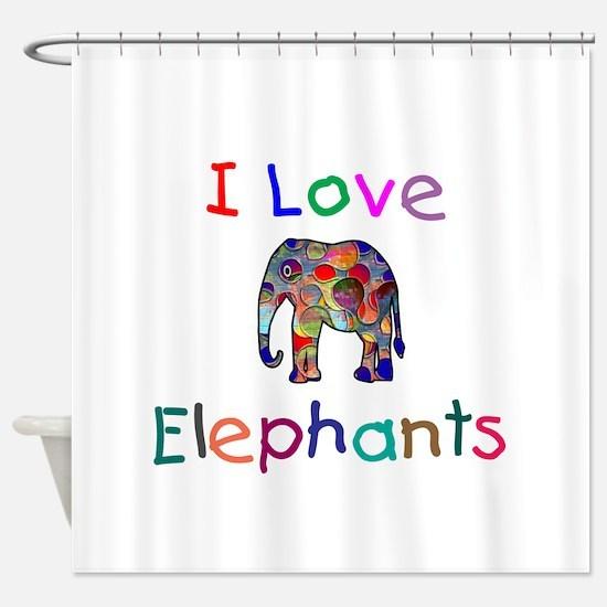 I Love Elephants Shower Curtain
