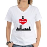 I Love Boston Women's V-Neck T-Shirt
