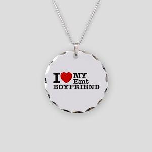 I Love My EMT Boyfriend Necklace Circle Charm
