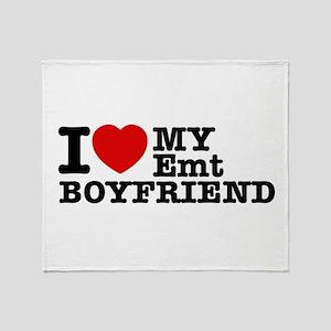 I Love My EMT Boyfriend Throw Blanket