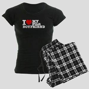 I Love My Pilot Boyfriend Women's Dark Pajamas