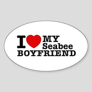 I Love My Seabee Boyfriend Sticker (Oval)
