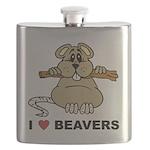 I Love Beavers Flask