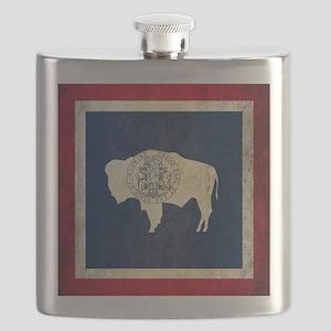 Grunge Wyoming Flag Flask