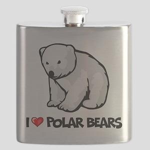 I Love Polar Bears Flask