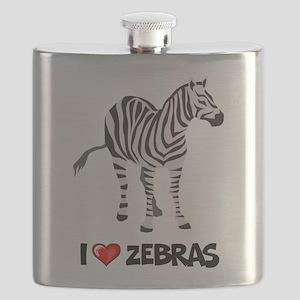 I Love Zebras Flask