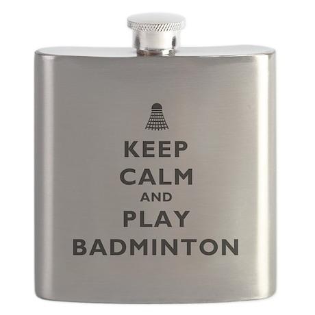 Keep Calm and Play Badminton Flask