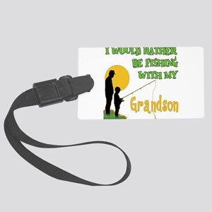 Fishing With Grandson Large Luggage Tag