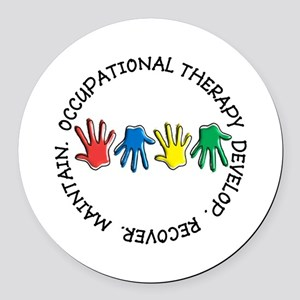 OT CIRCLE HANDS 2 Round Car Magnet