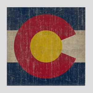 Vintage Colorado Flag Tile Coaster