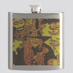 Halloween Witch Comic Flask