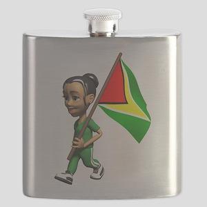 Cute 3D Guyana Flag Flask