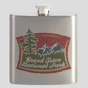 Grand Teton Mountain Tree Logo Flask