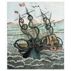 1815 Collosal Polypus octopus and ship Poster