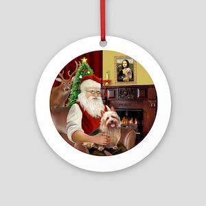 Santa & Australian Terrier Ornament (Round)