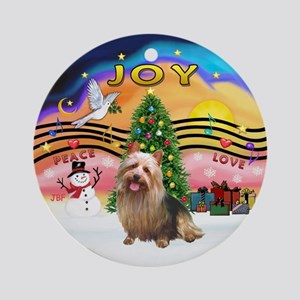 XmasMusic2-Aussie Terrier Ornament (Round)