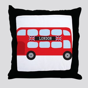 London Double-Decker Bus Throw Pillow