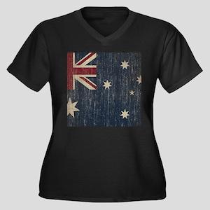 Vintage Australia Flag Women's Plus Size V-Neck Da