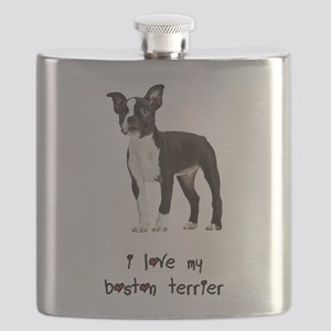 I Love My Boston Terrier Flask