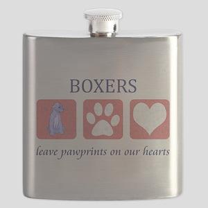 FIN-boxer-pawprints Flask