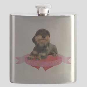 FIN-wirehaired-dachshund-valentine Flask