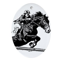 AFTM BW Jumping Horse Ornament (Oval)
