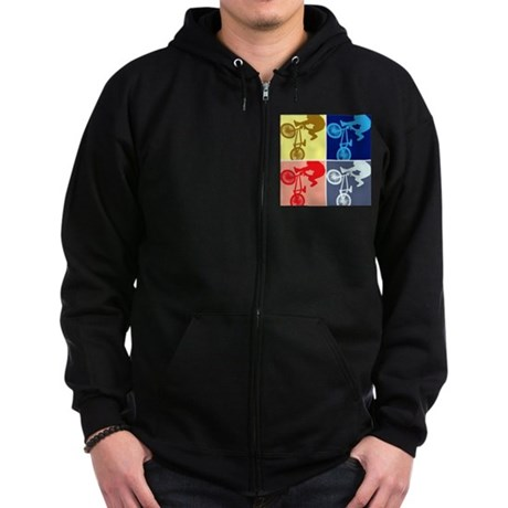 BMX Bike Rider/Pop Art Zip Hoodie (dark)
