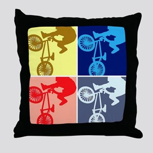 BMX Bike Rider/Pop Art Throw Pillow