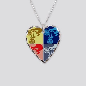 BMX Bike Rider/Pop Art Necklace Heart Charm