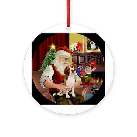 Santa and his Beagle Ornament (Round)