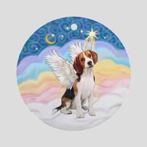 Clouds3 - Beagle Angel Ornament (Round)