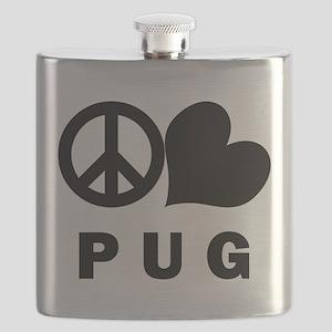 FIN-peace-love-pug Flask