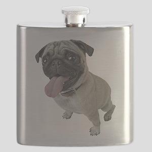 Pug Close-Up Flask
