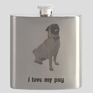 FIN-silver-pug-love Flask