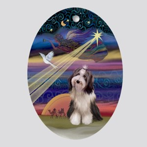 XmasAngel-BeardedCollie (#4) - Ornament (Oval)