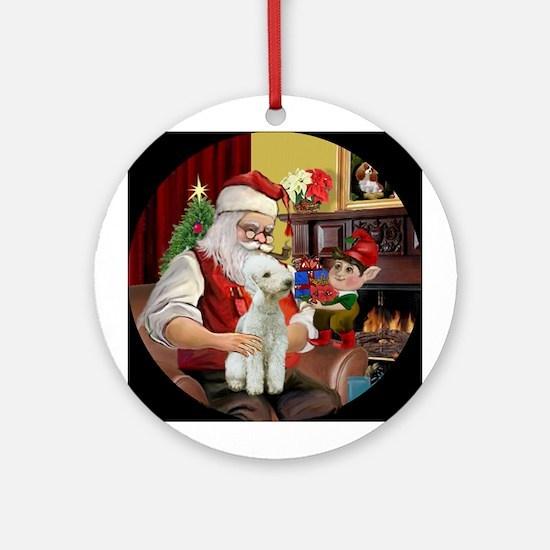 Santa and his Bedlington T#1 Ornament (Round)