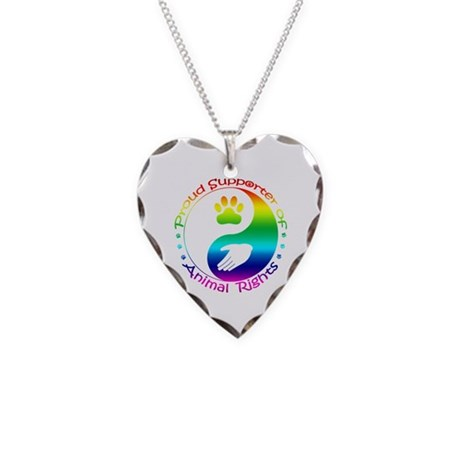 Supporter of Animal Rights Necklace Heart Charm