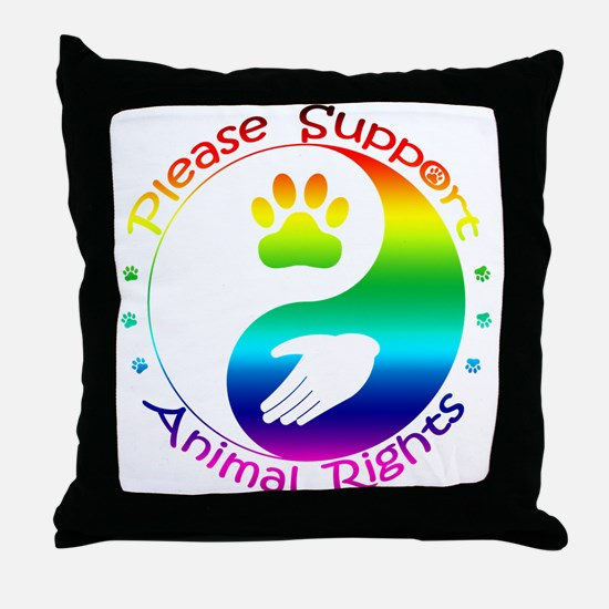 Please Support Animal Rights Throw Pillow